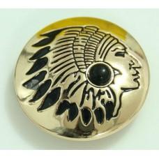 Кончо пуговица индиан золотистый черный