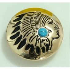 Кончо пуговица индиан золотистый бирюза