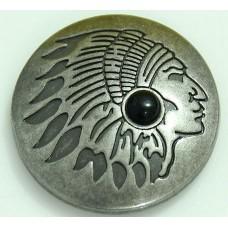 Кончо пуговица индиан матовый черный