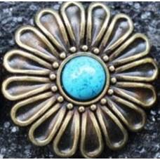 Кончо Flower blue insert