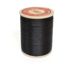 Нить льняная вощеная Sajou. Цвет Noir (черный) 0.63мм.