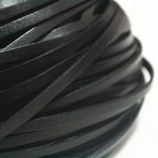 Тесьма из кожи, черный, италия 2х1мм